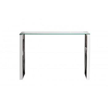 Металлическая консоль из нержавеющей стали и прозрачного стекла 120*40*78см 47ED-CST008