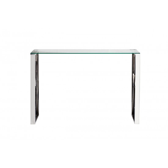 Металлическая консоль из нержавеющей стали и прозрачного стекла 120*40*78см 47ED-CST008 в интернет-магазине ROSESTAR фото