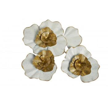 Настенный декор бело-золотой Цветы 69,9*56,5*8,3см 37SM-0697