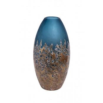 Стеклянная ваза голубая с золотом H40D10,5 HJ1654-40-S81