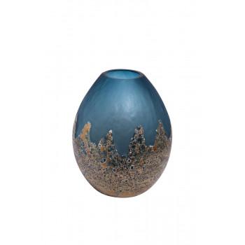 Стеклянная ваза голубая с золотом H29D23 HJ6040-30-S81
