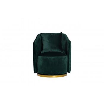 Зелёное кресло вращающееся велюр 73*72*82см 48MY-2573 GRN GLD