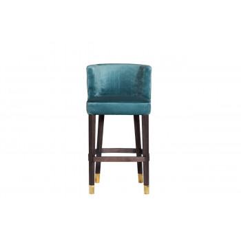 Барный стул велюр на деревянных ножках бирюзовый 54*58*106см 48MY-4116-B TUR