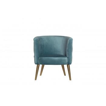 Бирюзовое велюровое кресло на металлических ножках 73*67*77см 48MY-2533 TUR GLD