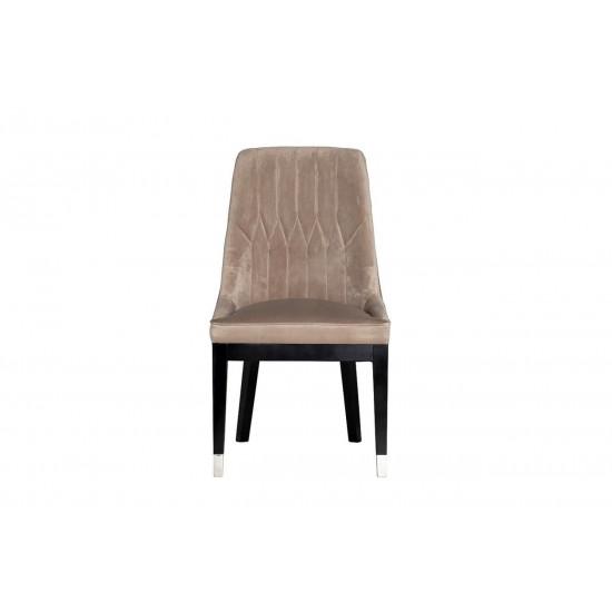 Велюровый стул с деревянными ножками жемчужно-серый 56*65*101см 48MY-3526 PEG  в интернет-магазине ROSESTAR фото