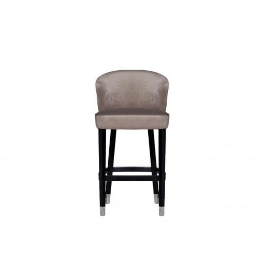 Барный стул велюр на деревянных ножках жемчужно-серый 66*59*108см 48MY-4115-B PEG  в интернет-магазине ROSESTAR фото