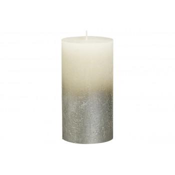 Декоративная свеча кремовая с серебром Rustic 130*68мм 103668640305
