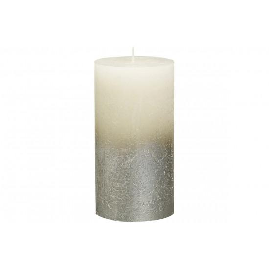 Декоративная свеча кремовая с серебром Rustic 130*68мм 103668640305 в интернет-магазине ROSESTAR фото