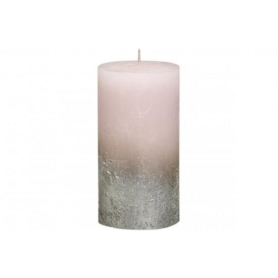 Декоративная свеча розовая с серебром Rustic 130*68мм 103668640304