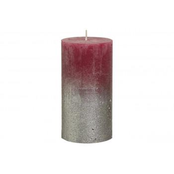 Декоративная свеча бордовая с серебром Rustic 130*68мм 103668640344