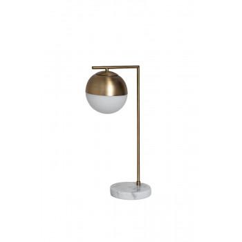 Настольная лампа металлическая золотая с матовым плафоном 22-88228