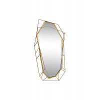 Фигурное зеркало в объёмной металлической золотой раме «Драгоценный камень» 43,2*85,1*5,7 37SM-0421
