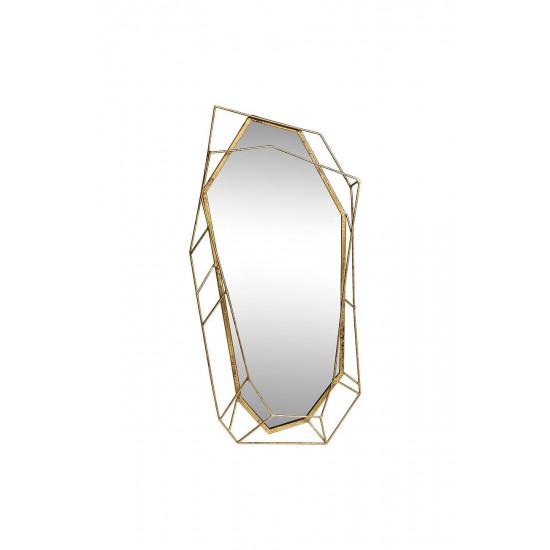 Фигурное зеркало в объёмной металлической золотой раме «Драгоценный камень» 43,2*85,1*5,7 37SM-0421 в интернет-магазине ROSESTAR фото
