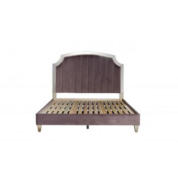 Кровать с зеркальными вставками велюр розово-серый 211*189*158см арт. KFE007-69