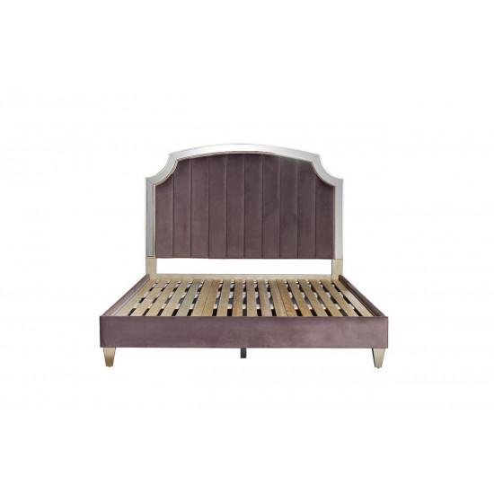 Двуспальная кровать с зеркальными вставками велюр розово-серый 211*189*158см KFE007-69  в интернет-магазине ROSESTAR фото