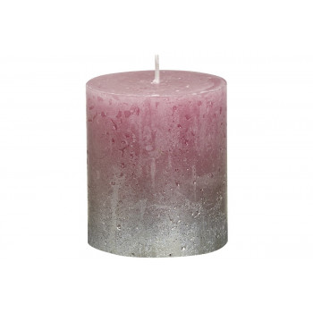 Декоративная свеча тёмно-розовая с серебром Rustic 80*68мм 103668630393