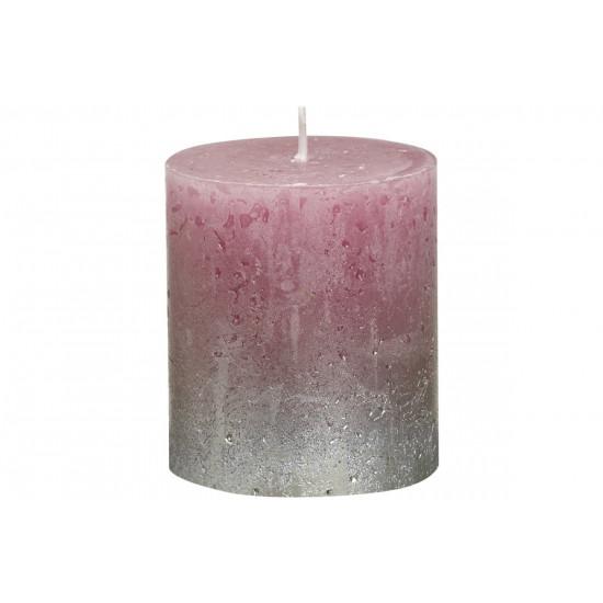 Декоративная свеча тёмно-розовая с серебром Rustic 80*68мм 103668630393 в интернет-магазине ROSESTAR фото