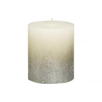 Декоративная свеча Rustic кремовая с серебром 80х68 мм 103668630305