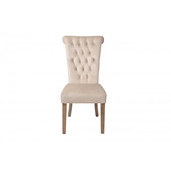 Велюровый стул с кольцом на деревянных ножках кремовый 98*47*53см PJC597-PJ634