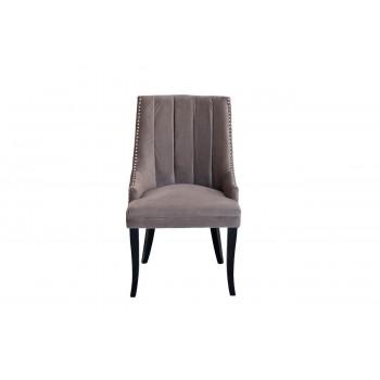 Велюровый стул с деревянными ножками серо-бежевый 58*68*96см HD2202-1089-BGB