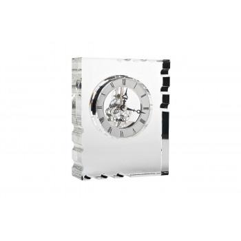 Часы настольные стеклянные серебряные 13*16*5 см C81494