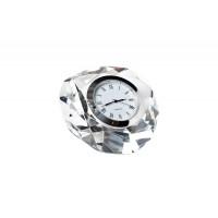 Часы настольные стеклянные серебряные 8*8*4 см C80591