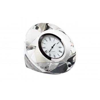 Часы настольные стеклянные серебряные 10*10*4 см C80721