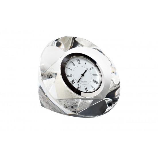 Часы настольные стеклянные серебряные 10*10*4 см C80721 в интернет-магазине ROSESTAR фото