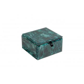Стеклянная бирюзовая шкатулка 12*12*7см KFJ112