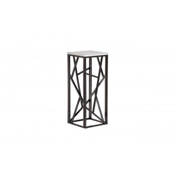Высокий журнальный столик с мраморной столешницей на металлических ножках 30*30*75 47ED-FS015BLSM