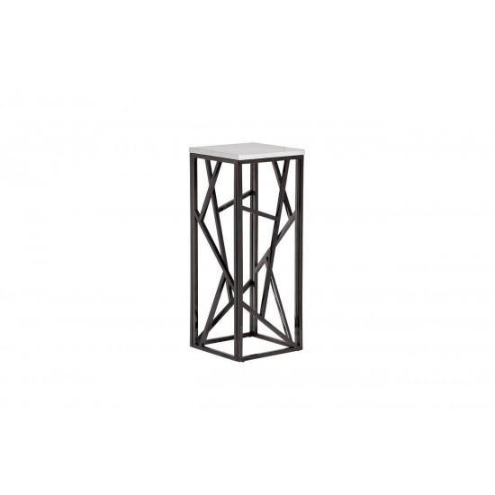 Высокий журнальный столик с мраморной столешницей на металлических ножках 30*30*75 47ED-FS015BLSM в интернет-магазине ROSESTAR фото