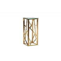 Высокий золотой журнальный столик со столешницей из стекла на металлическом каркасе 30*30*75