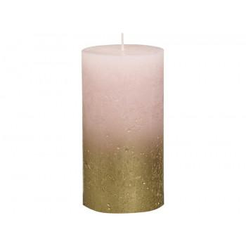 Декоративная свеча розовая с золотом Rustic 130*68мм 103668646704