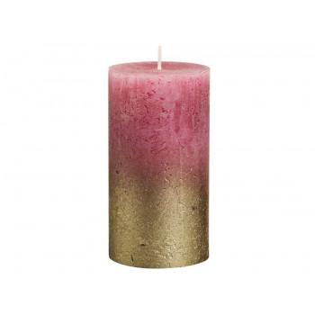 Декоративная свеча красная с золотом Rustic 130*68мм  103668646793