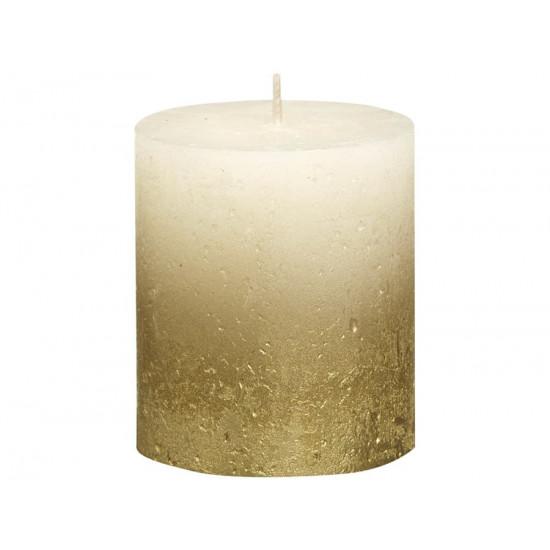 Декоративная свеча кремовая с золотом 80*68мм 103668636705 в интернет-магазине ROSESTAR фото