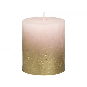 Декоративная свеча розовая с золотом Rustic 80*68мм 103668636704