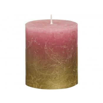 Декоративная свеча красная с золотом Rustic 80*68мм 103668636793