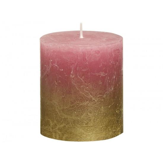 Декоративная свеча красная с золотом Rustic 80*68мм 103668636793 в интернет-магазине ROSESTAR фото