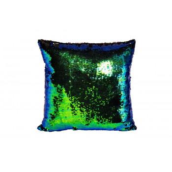 Декоративная квадратная подушка с пайетками синяя/зеленая 45*45см 28ML-P00114