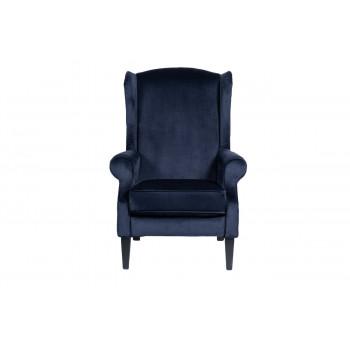 Велюровое кресло на деревянных ножках темно-синее 82*87*112см PJS26601-PJ633
