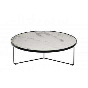 Журнальный столик круглый со столешницей из мрамора на металлическом каркасе Royal White d90*27,5см 33FS-CT275-BL