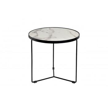Журнальный столик круглый со столешницей из мрамора на металлическом каркасе Royal White d50*48см 33FS-ET276-BL