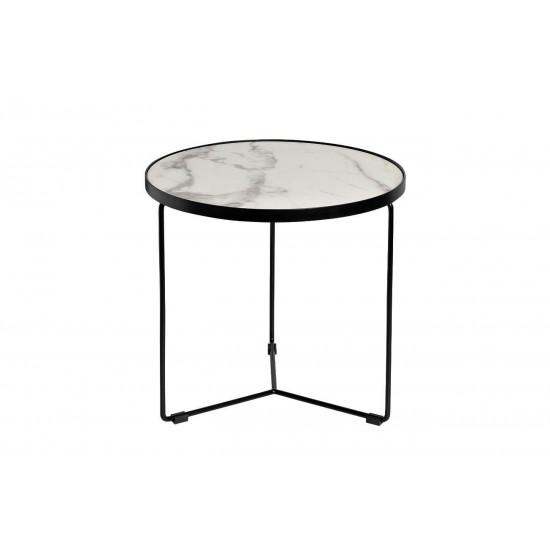 Журнальный столик круглый со столешницей из мрамора на металлическом каркасе Royal White d50*48см 33FS-ET276-BL в интернет-магазине ROSESTAR фото