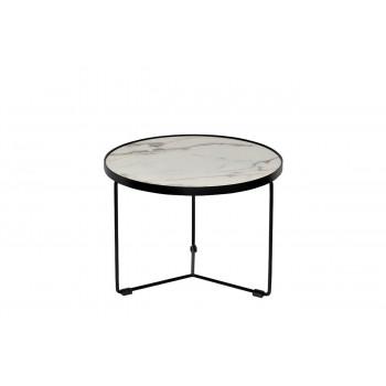 Журнальный столик круглый со столешницей из мрамора на металлическом каркасе Royal White d50*38см 33FS-ET277-BL