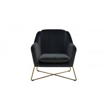 Велюровое кресло на металлическом каркасе серо-зеленое/матовое золото 75*87*80см 46AS-AR2976-GR