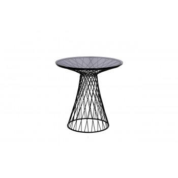 Металлический чёрный журнальный столик с тёмным стеклом d50*50см 46AS-ET4632-BL