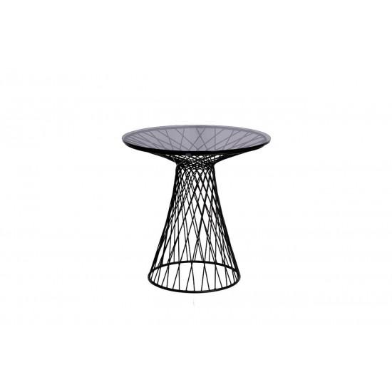 Металлический чёрный журнальный столик с тёмным стеклом d50*50см 46AS-ET4632-BL в интернет-магазине ROSESTAR фото