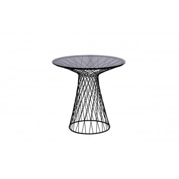 Чёрный круглый журнальный столик с тёмным стеклом на металлическом каркасе d60*58см