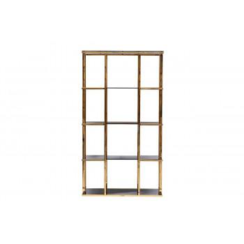 Стеллаж металлический золотой с чёрным стеклом 100*40*180см 46AS-SH1537-GOLD