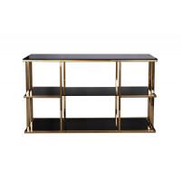 Металлическая золотая консоль с чёрным стеклом 140*40*80см 46AS-CST4616-GOLD